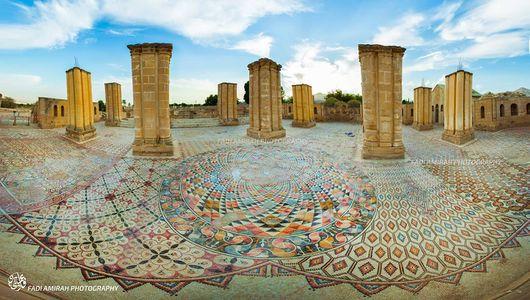 """السياحة والآثار تتسلم أعمال مشروع تغطية أرضيات الفسيفساء في """"قصر هشام"""" بأريحا"""