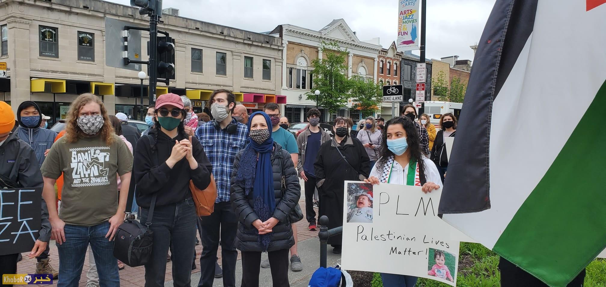 """مظاهرتانفي ولايتي """"ايوا"""" و""""كاليفورنيا"""" الامريكيتين تضامنا مع الشعب الفلسطيني واستنكارا لجرائم الاحتلال"""
