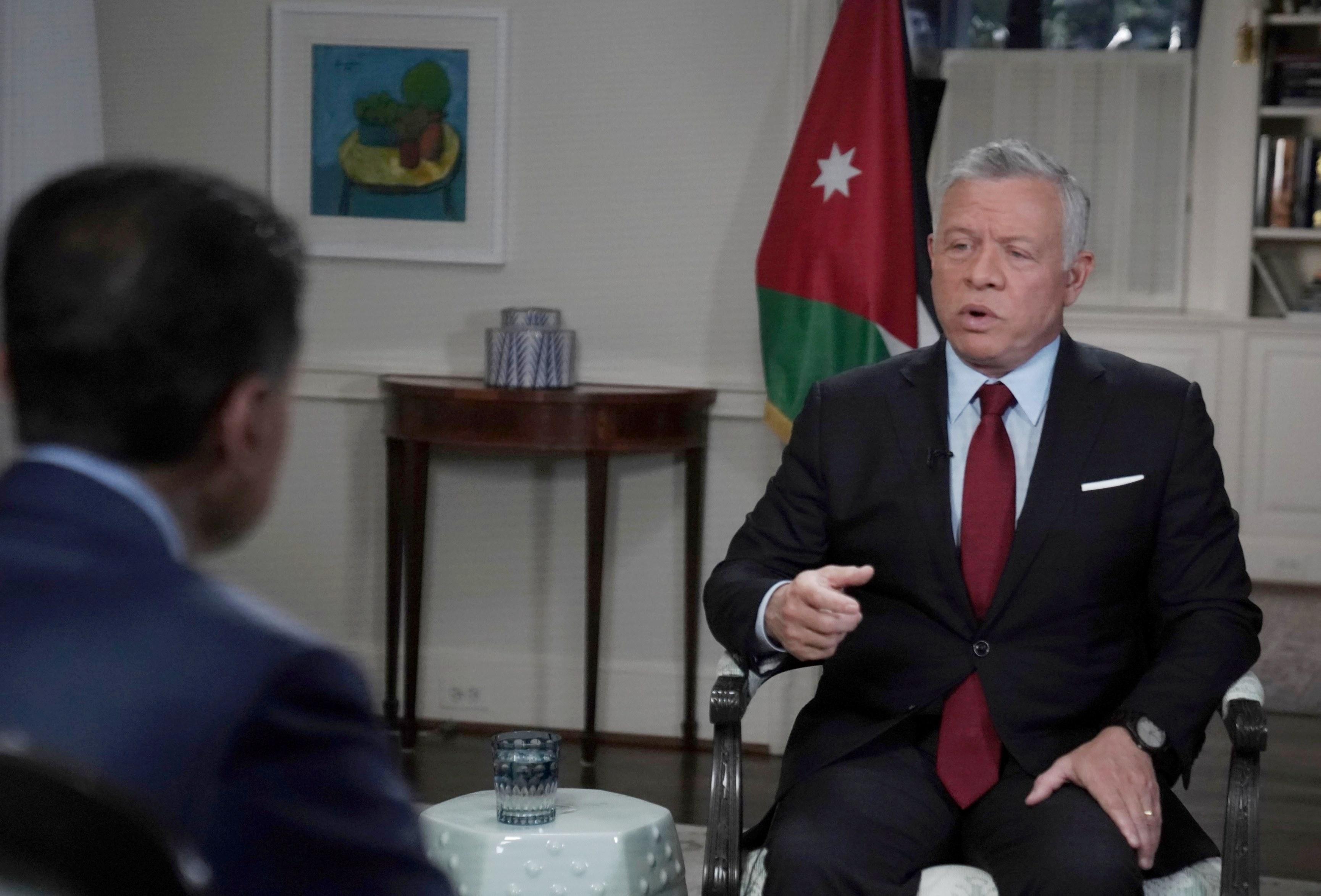 """الملك عبدالله الثاني لـ """"سي إن إن"""": حل الدولتين هو الحل الوحيد وحددنا خطوطنا الحمراء بوضوح"""