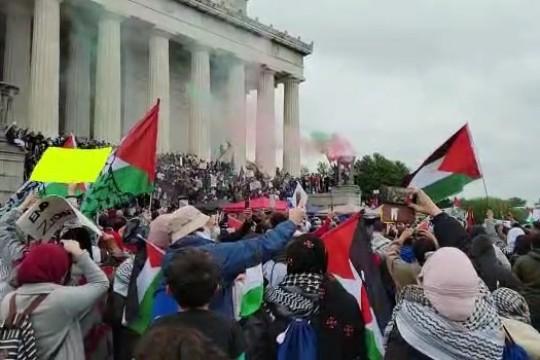 """مظاهرات أمام """"البيت الابيض"""" في واشنطن والينوي وشيكاغو تنديدا بجرائم الاحتلال"""